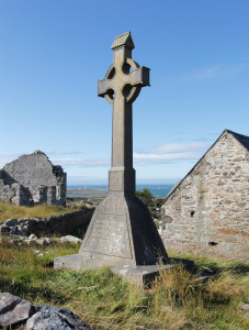 Cross and Church Ruins on Bardsey