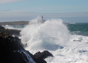 Storm on Bardsey with Lighthouse